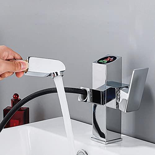 ALYHYB Grifo extraíble para lavabo de baño, color negro con pantalla digital inteligente de un solo agujero, grifo de baño para fregadero de recipiente desplegable (color cromado)
