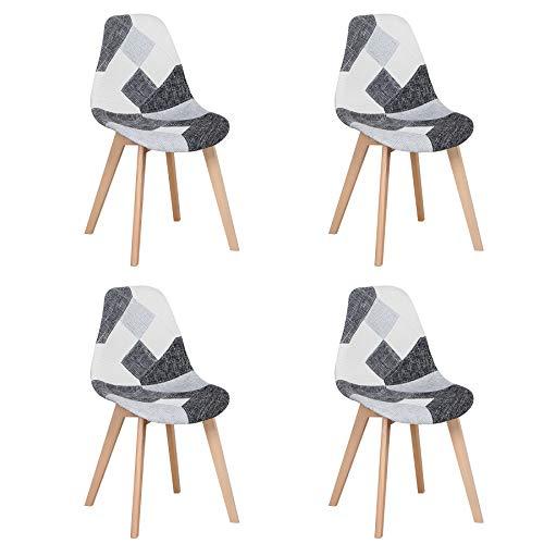 BenyLed Ensemble de 4 Chaises de Salle à Manger Chaises Patchwork Colorées avec Pieds en Bois Chaise Longue Scandinave pour Cuisine, Salon, Café, etc, (Noir)