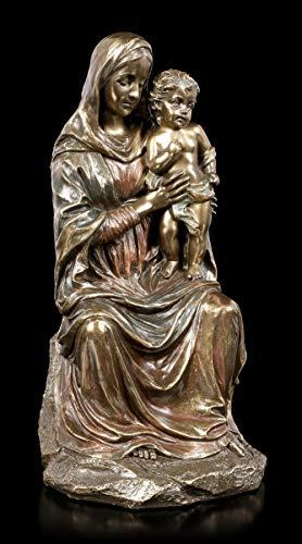 Veronese Studio Collection Statua di Santa Maria Seduta, con Gesù Bambino, Mamma Dio bronzata e Colorata, H 20 cm