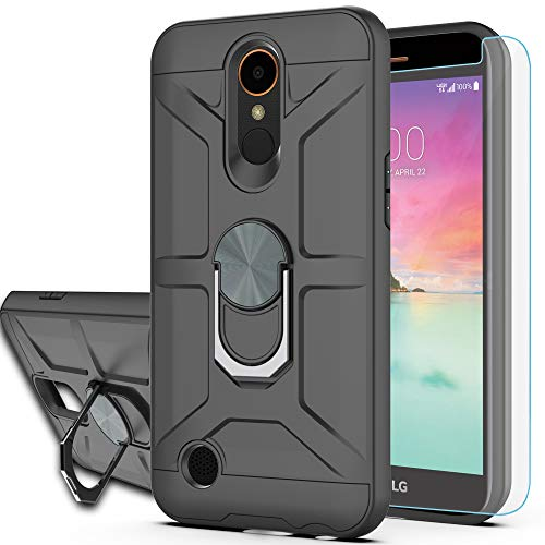 LG K20 Plus Case LG K20 V/LG Harmony/LG Grace LTE/K10 2017 Case with HD Screen Protector YmhxcY 360 Degree Rotating Ring Kickstand Holder Dual Layers of Shockproof Phone Case for LG LV5-ZS-Black