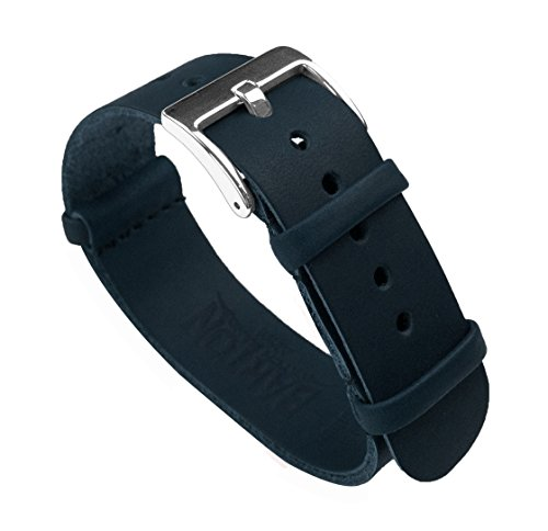 22mm Navy Blue Long - Barton Leather NATO Style Watch Straps