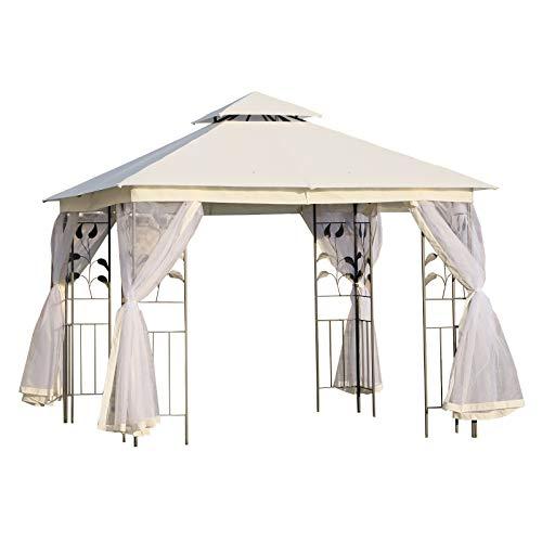 Outsunny Carpas para Exterior Grandes con Mosquitera Cenador Elegante para Jardín Terraza con Piquetas para el Suelo Fácil de Drenar 300x300x265cm