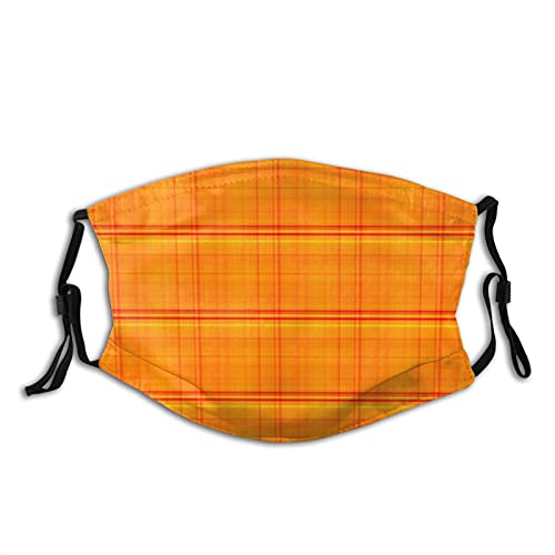 Cara de tela unisex Ma-sk naranja brillante estilo madras a cuadros co-ver con bucle de oreja ajustable Bandanas lavables Mou-th Covering para exteriores, deportes, ir de compras