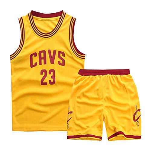 Gelb, Cavaliers, 23 James, Kinderbasketballuniformen, Stickbasketballuniformen, bequem, atmungsaktiv und schnell trocknend, wiederwaschbar, geeignet, Kindersportbekleidung-XXL