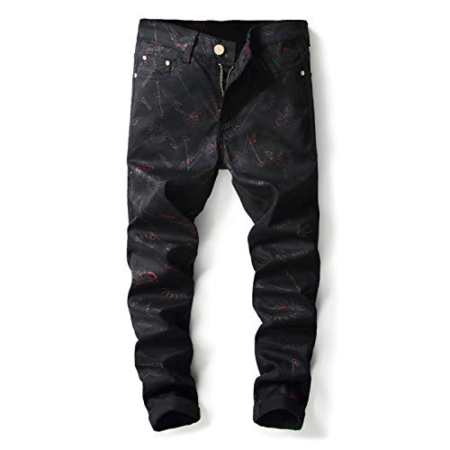 CFWL Pantalones Pitillo De Corte Entallado con Estampado para Hombre Vaqueros EláSticos...