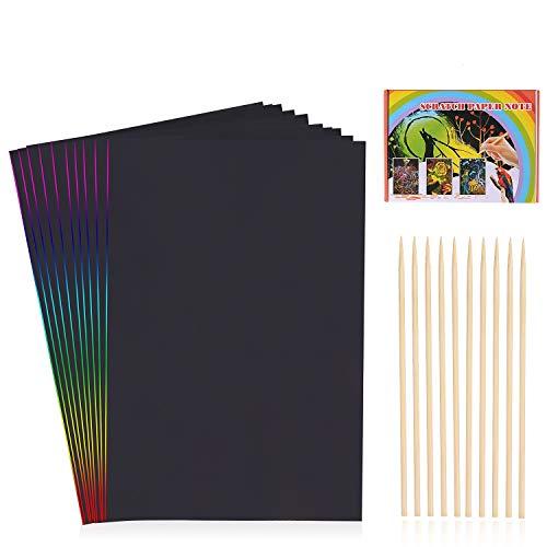 HellDoler Manualidades para Niños,100 Hojas Manualidades para Rascar Scratch Art Cuadernos para Dibujar Papel de Rascar Incluye 4 Plantillas de Plantillas de Dibujo y 10 Lápices de Madera
