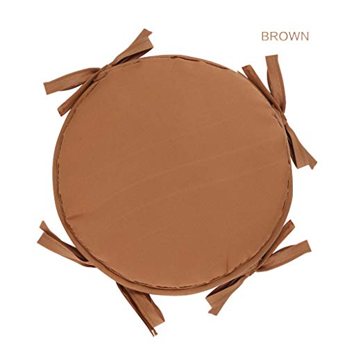 VIccoo Cushions with Ties - Round Chair Pads for Armchairs Garden Outdoor Indoor Chair - Brown - 1