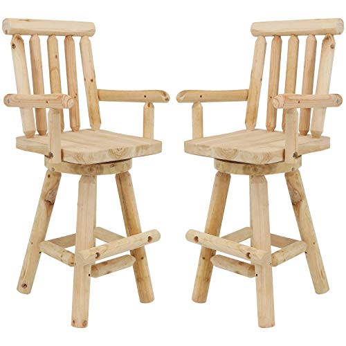 Sunnydaze Rustic Bar Stool, Log Cabin Style Unfinished Wood Construction, 4-Foot, Set of 2