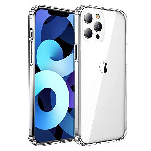 Ultra Crystal Hülle Kompatibel mit iPhone 12 Pro Max (6,7 Zoll) [Anti Gelb] Weich TPU Bumper + Anti-Scartch PC Rückseite Handyhülle Stoßfest Silikon Schutzhülle-Transparent