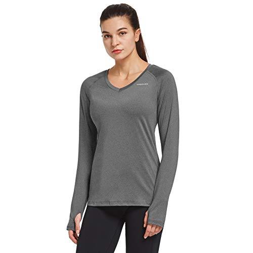 Ogeenier Femme T-Shirt de Course sans Étiquette à Manches Longues avec Quick Dry et Trous de Pouce et Éléments Réfléchissants