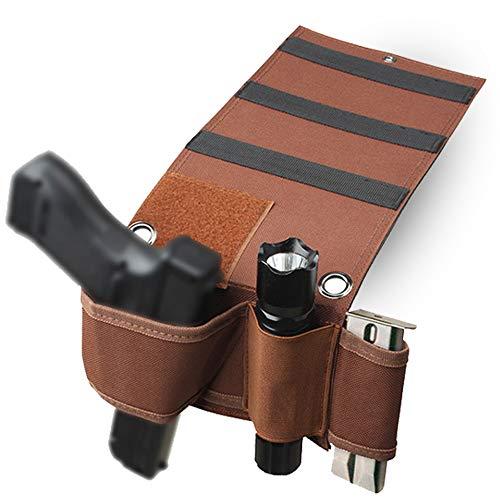 SHURUN Car Seat Pistol Gun Holster-Bed Mattress Gun Holder- Adjustable Under Mattress Bedside Pistol Gun Holster Car Seat Desk Closet Gun Handgun Holster with Flashlight Loop Magazine H (Brown)