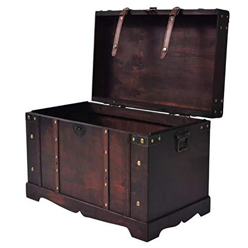 Baúl de tesoro, estilo vintage, caja de almacenamiento con bloqueo, mesa baja, portátil, multifunción, para salón, dormitorio, café, 66 x 38 x 40 cm