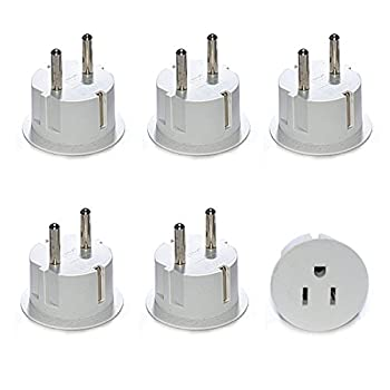 Orei American USA to European Schuko Germany Plug Adapters CE Certified Heavy Duty - 6 Pack - Perfect for Travelling with Cell Phones Laptops Cameras & More