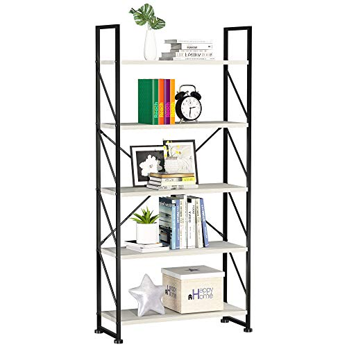 YITAHOME Bookcase 5 Tiers, Floor Standing Book Shelf, Wooden Shelf and Metal Frame Book Rack, Display Storage Rack Shelving Units for Living Room, Home Office - White Bookshelf