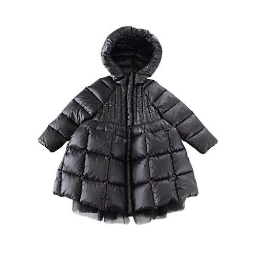ZANZAN Caldo Piumino Piumino Cappuccio Leggero Lungo della Ragazza del Cappotto del Cappuccio di Inverno Pacchetto del Cappotto di Mezzanotta Giacca Invernale (Color : Black, Dimensione : 110)