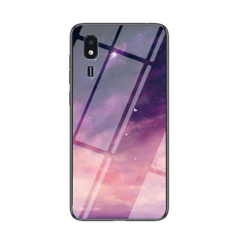 BeyondTop Funda para Samsung Galaxy A2 Core Cubierta de Cristal Degradado de Color Caja de Vidrio Templado Case Cover para Samsung Galaxy A2 Core (Fantasy Estrellado)