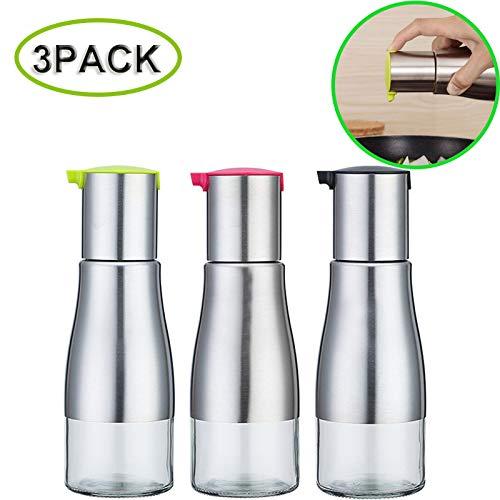 Botella Aceite Vinagrera con Dispensador de Aceite Girar Alta Precisión VidrioTransparente Acero Inoxidable para Aceite/Vinagre/Salsa (3 Piezas)