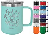 God is Within Her, She Will Not Fall - 15oz Powder Coated Mug with Lid - Inspirational Coffee Mug with Bible Verse Engraved Coffee Cup