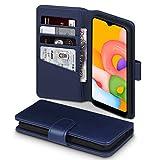 TERRAPIN, Kompatibel mit Samsung Galaxy A01 Hülle, [ECHT Leder] Brieftasche Hülle Tasche mit Standfunktion Kartenfächer & Bargeld - Blau