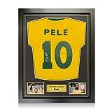 exclusivememorabilia.com Camiseta de fútbol de Brasil firmada por Pele. Enmarcado