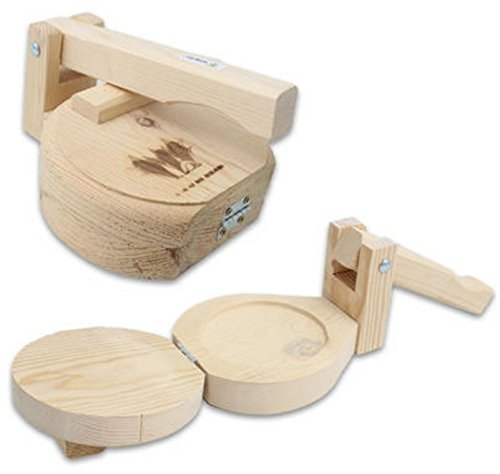 """Made in USA All Wood 9"""" Manual Flower or Corn Tortilla Maker Press Wooden Handle and Body"""