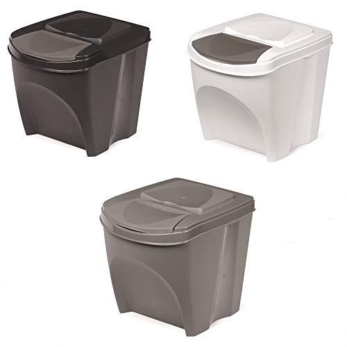 Mülleimer Abfalleimer Mülltrennsystem 25L Behälter Sorti Box Müllsortierer 3 Farben von rg-vertrieb (Weiß)