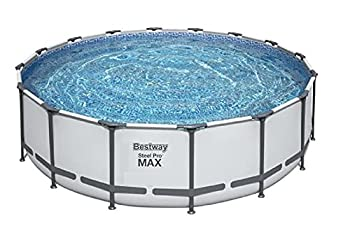 Bestway Steel Pro MAX 16 x 4 Foot Outdoor Frame Above Ground Round Swimming Pool Set with Ladder Cover Filter Pump and Replacement Cartridge