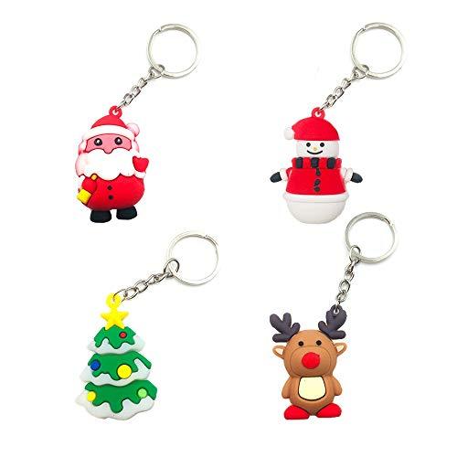 4PCS Christmas Keychains Xmas Ornaments Christmas Tree Santa Claus Snowman Elk Christmas Keyring Gift for Christmas Decoration