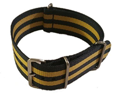 Cinturino per orologio da polso militare tipo Nato in Nylon Blu-Giallo 20mm