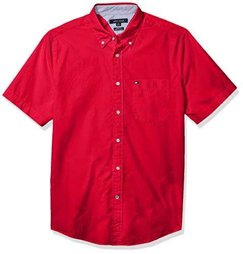 Tommy Hilfiger Men's Short Sleeve Button Down Shirt in Classic Fit, Apple Red