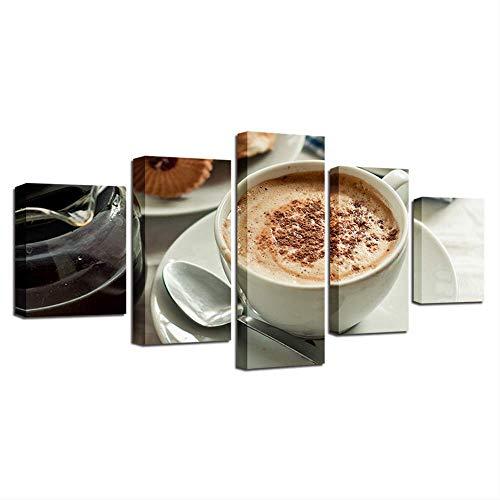 Muurkunst afbeelding Classic Poster HD Print 5 stuks koffie glas Beauty Salon keuken Modern Home Decor 40x60cmx2,40x80cmx2,40x100cmx1 Geen frame.