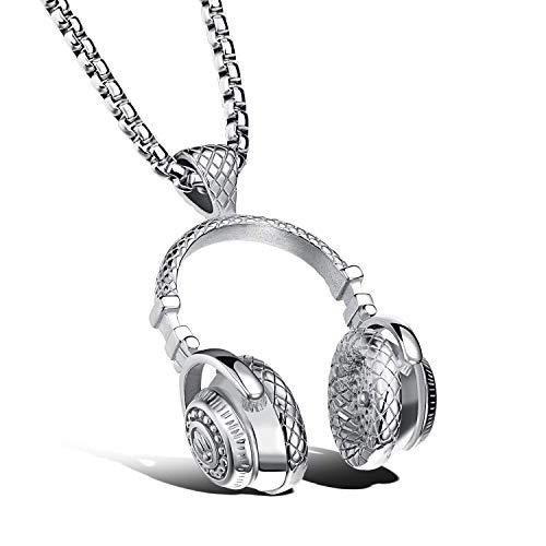 Joeyan Herren Halskette mit Kopfhörer Anhänger Hiphop Silber