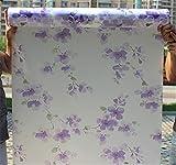 WDNEJKJH Vinilos para Ventanas 90 x 200 cm Flores moradas estática Película para Cristales, Película de Ventana de Vidrio,No Pegamento Película de Ventana- para Baño Cocina y Oficina