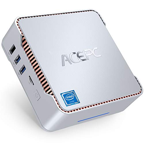 ACEPC Mini PC, 6 Go de RAM + 128 Go de ROM, Intel Celeron J4125 (jusqu'à 2,7 GHz) Mini Ordinateur de Bureau Windows 10 Pro, Dual WiFi 2.4 / 5G, Bluetooth 4.2, 4K HD, 2 HDMI + 1 VGA, LAN 1000 Mbps