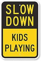 安全標識-減速-子供たちが遊んでいます。インチの金属錫標識UV保護および耐候性、通知警告標識