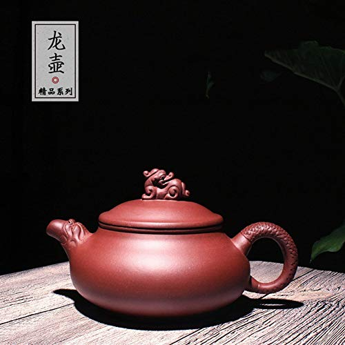 No-branded Yixing Zisha Teapot Handmade Yixing Tea Pots Teapot Tea Cup Clear Cement Dragon Unique Oriental Purple Tea Maker Pot LLLNHQ (Color : Purple mud)