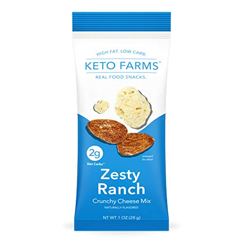 Keto Farms, Crunchy Cheese Mix, Keto Snacks (2g Net Carb) [Zesty Ranch] 1 Ounce, 6 Count   Keto Friendly Low Carb Snacks - Real Food, Bold Flavor, Satisfies Keto Chips Cravings, Portion Control
