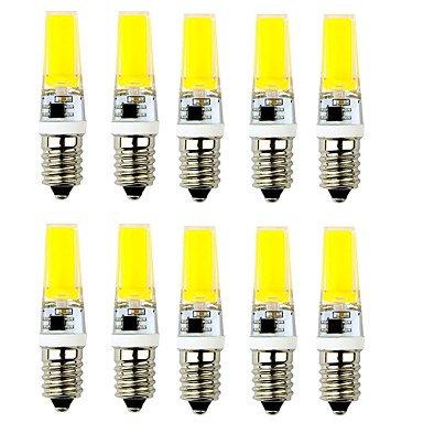 WELSUN LED Ampoule E14 / G9 LED 3W 1 COB 200-250 lm Blanc Chaud / Blanc Froid Décorative Equivalente 20W AC 100-240 V 10 pièces ( Connector : E14 , Light Source Color : Warm White )