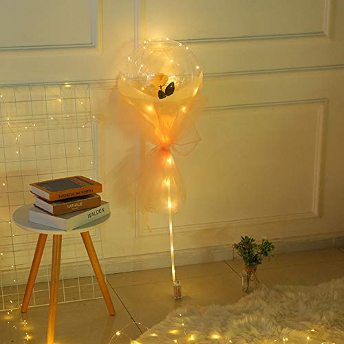 iSpchen Globo Luminoso LED Ramo de Rosas Globo Transparente Ramo de Rosas Decoración de Bola Luminosa LED, Adecuado Para Decoraciones de Aniversario/Navidad/Boda/Cumpleaños/Fiesta