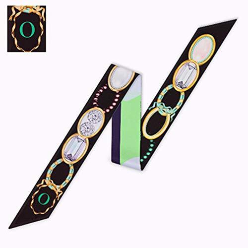 MLDSJQJ Buchstaben Schal Frauen Seidentuch Mode Kopftuch Kleine Krawatte Tasche Bänder Konstellation Weiblichen Hals Wraps 95 * 6 cm,O,One Size