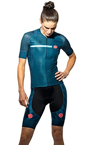 Sundried Womens Pro Bereich Radfahren Jersey Kurzarm Bike Jersey Straßen-Fahrrad-Zyklus-Abnutzungs-Mountainbike-Shirts (Blau, XS)
