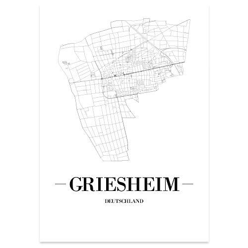 JUNIWORDS Stadtposter - Wähle Deine Stadt - Griesheim - 21 x 30 cm Poster - Schrift A - Weiß