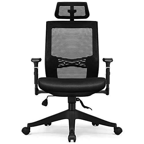 Bürostuhl Ergonomisch, Aiidoits Ergonomischer Schreibtischstuhl mit Verstellbarer Kopfstütze, Lendenstütze und Armlehnen, Höhenverstellbarer Drehstuhl mit Sitzkissen Chefsessel, Bürostuhl 150 kg