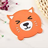 JINZHAO Cup Mat Cartoon Coasters for Hot Mike Coffee Silicone Cup Mat Placemat Drink Coaster Individual Kitchen Stuff Table Pad Holder,Fox