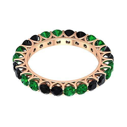 Anillo de eternidad de ónix negro de 3 mm, anillo de eternidad esmeralda de 3 mm, anillo de boda dorado, 14K Oro rosa, Size:EU 70