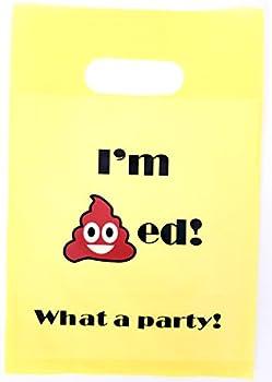 Lifetime Inc Emoji Party Favor Bags Poop Theme Birthday Supplies Smile Plastic Yellow Bag with Handle