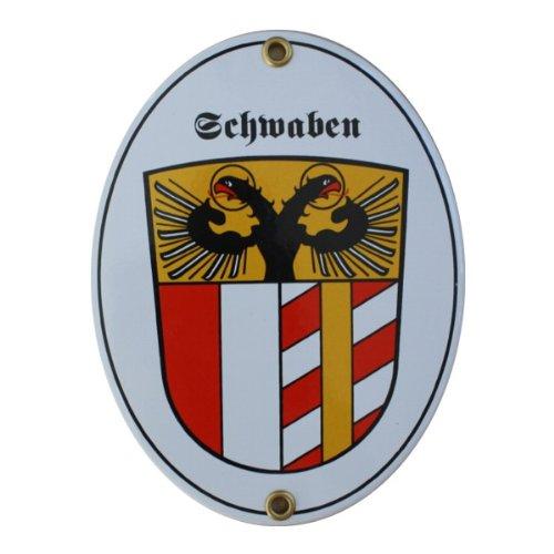 Schwaben Emaille Schild 11,5 x 15 cm Emailschild Oval.