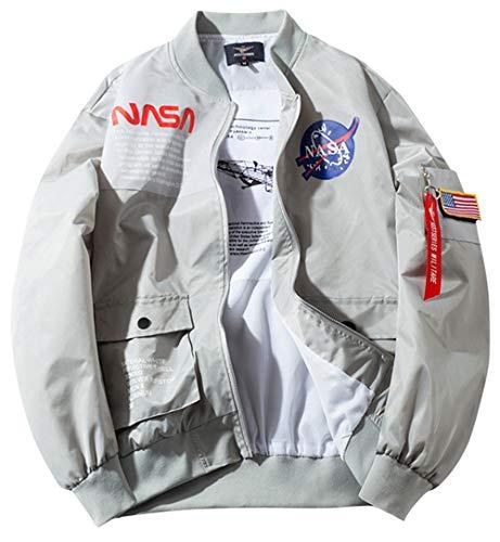SSRSH Jacke Herren NASA MA-1 Militär Bomberjacke Langarm Frühling-Sommer Mantel Regenjacke Windbreaker Coole Jacke Streetwear mit Reißverschluss Fliegerjacke (Small, Grau)