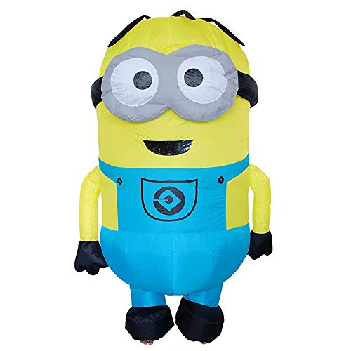Disfraz inflable Minion Stuart para adultos - Mi villano favorito Minion Blue Overol Disfraz inflable Cosplay Disfraz de fiesta de Halloween Cosplay con soplador de aire - 160-190 cm de altura