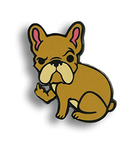 Rude Frenchie Enamel Pin by Trixie & Milo - Bulldog French Cute Collectable funny middle finger